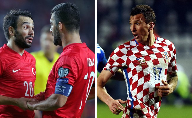 Die Türkei trifft in Runde eins der EM-Gruppe D auf Kroatien.