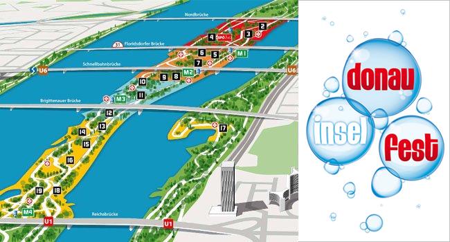 Der Donauinselfest-Plan 2016 mit allen allen Stationen.