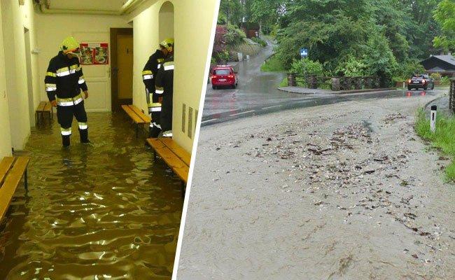 Heftige Unwetter führten im Bezirk Neunkirchen zu zahlreichen Feuerwehreinsätzen.