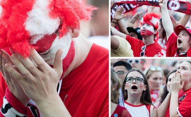 Schock bei den Österreich-Anhängern in der Fanzone am Rathausplatz in Wien während des Euro-Spiels zwischen Island und Österreich in Frankreich