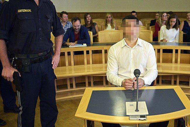 Der Angeklagte (M) beim Prozess in Wien