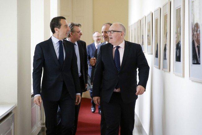 """Kern und Timmermans hatten """"aktuelle europapolitische Themen"""" zu besprechen."""