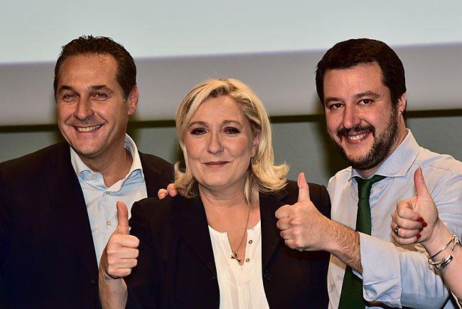 Strache und Le Pen im Jänner bei einem Treffen in Mailand