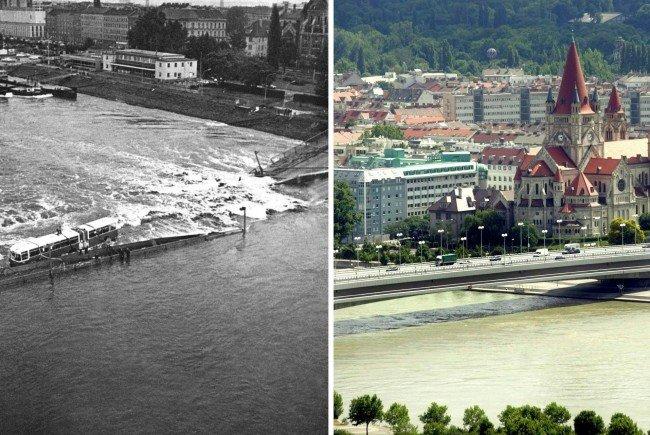 Die Wiener Reichsbrücke nach ihrem Einsturz und heute.