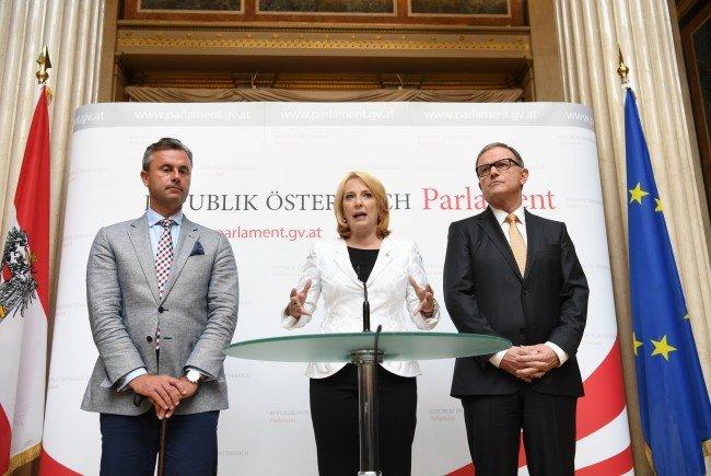 Die Nationalratspräsidenten Norbert Hofer, Doris Bures und Karlheinz Kopf.