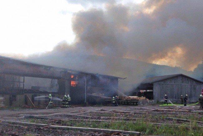 Die Halle eines Sägewerks in Pernitz geriet in Brand