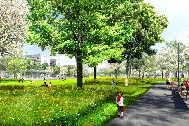 Am 8. Juli wird der erste Teil des helmut-Zilk-Parks im Sonnwendviertel eröffnet.