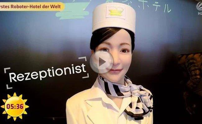 Selbst die Rezeptionistin im japanischen Hotel ist ein Roboter.