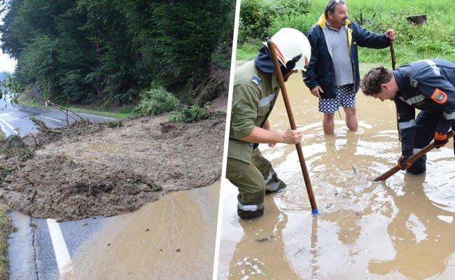 Im Bezirk Neunkirchen mussten die Feuerwehren aufgrund von Überschwemmungen und Vermurungen ausrücken.