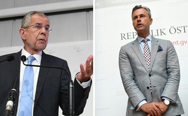Die Präsidentschaftskandidaten Alexander Van der Bellen (l.) und Norbert Hofer (r.).
