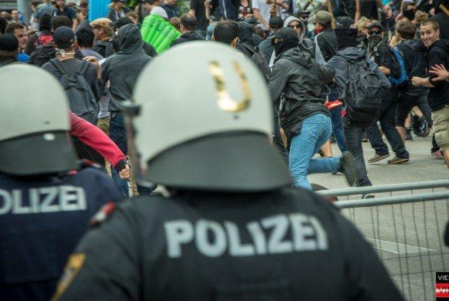 Bei der Identitären-Demo in Wien.