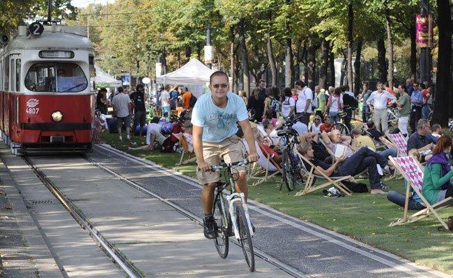 """Der autofreie Tag in Wien muss heuer ohne """"Rasen am Ring"""" auskommen."""