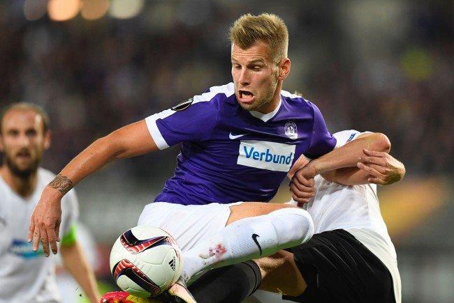 Alex Grünwald und die Austria trennten sich 0:0 von Viktoria Pilsen.