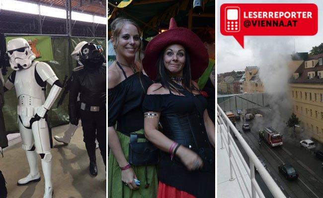 Unsere Leserreporter waren bei der Vienna Comix, beim schönsten Mittelalterfest Österreichs und bei einem Wasserrohrbruch in Döbling