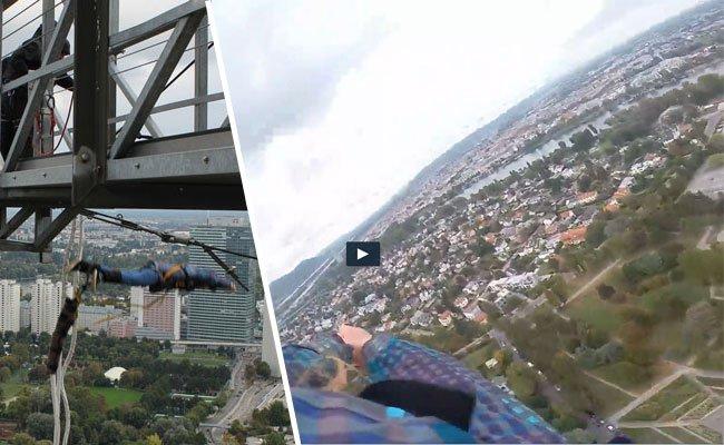 Beim Bungee Jumping vom Wiener Donauturm.