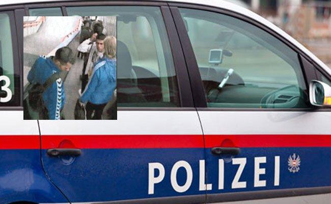 Im Bild: Das Opfer (rechts, blonde Haare) und die gesuchten Männer.
