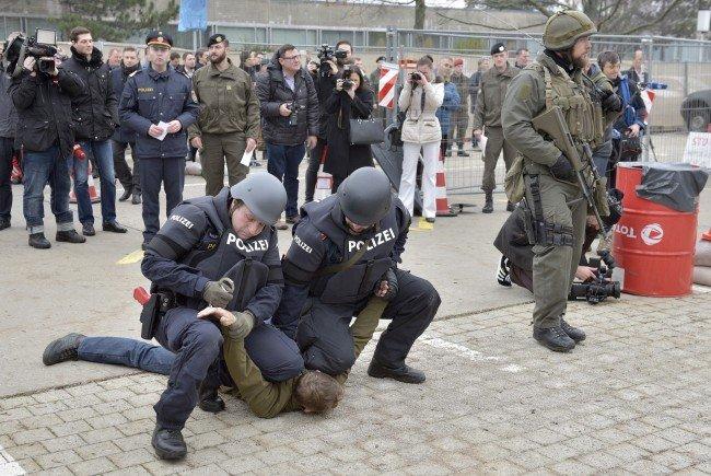 Bei der Anti-Terror-Übung in Niederösterreich.