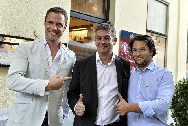 Wiener FPÖ-Granden unter sich: Vizebürgermeister Johann Gudenus, Gemeinderat Wolfgang Seidl und Klubobmann Dominik Nepp.