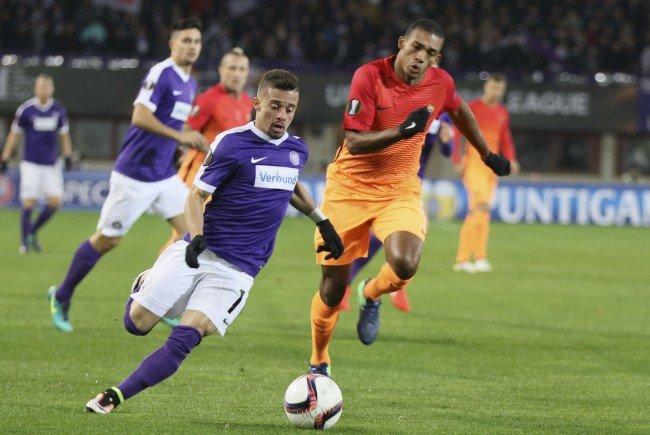 Lucas Venuto und die Austria mussten sich im Happel-Stadion der Roma geschlagen geben.
