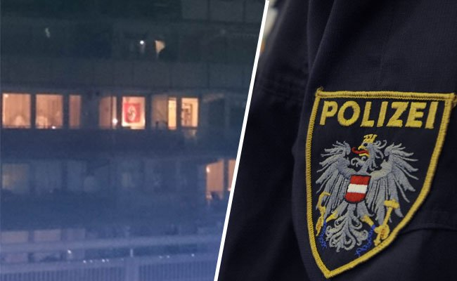 Eine Nachbarin entdeckte die Hakenkreuzflagge in Wien-Ottakring.