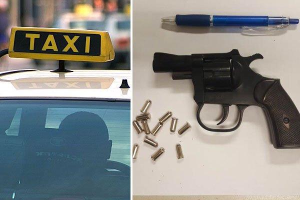 Der Taxler wurde plötzlich mit dieser Waffe bedroht.
