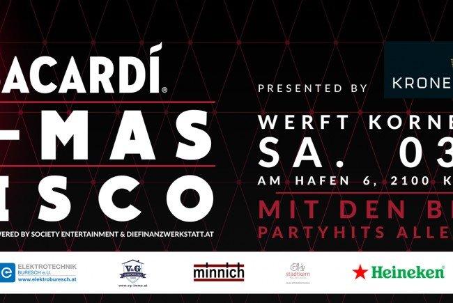 BACARDI X-MAS DISCO – Werft Korneuburg: Wir verlosen 4×2 Tickets!