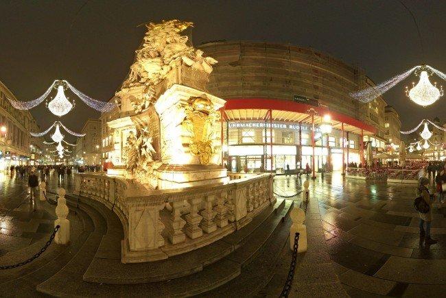 Panorama der Illuminierung der Wiener Weihnachtsbeleuchtung