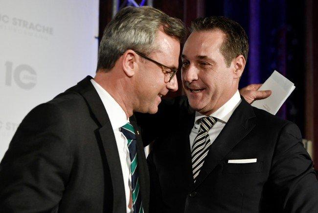 FPÖ-Präsidentschaftskandidat Norbert Hofer und FPÖ-Parteichef Heinz-Christian Stache.