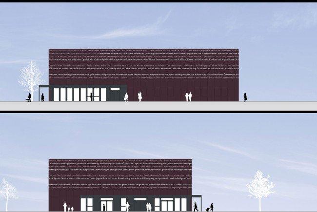 So wird die Fassade von zwei Büropavillions auf dem Heldenplatz aussehen