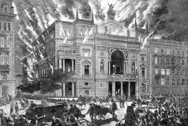 Eine Darstellung vom Brand des Wiener Ringtheaters