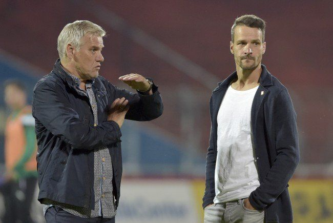 Admira-Sportdirektor Ernst Baumeister (l.) mit Trainer Oliver Lederer.