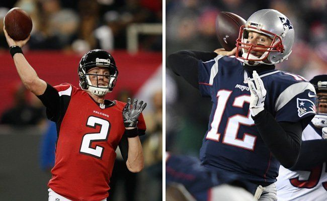 Matt Ryan und Tom Brady - die Starting-Quarterbacks von Atlanta und New England.