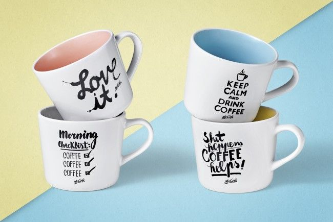 Vier neue Tassen beim McCafé.