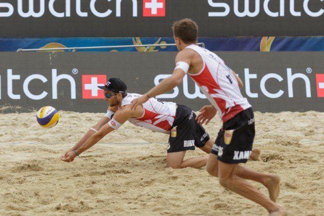 Beachvolleyball-Action heuer mitten in Wien.