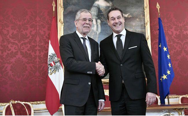 Bundespräsident Alexander van der Bellen (l.) empfing FPÖ-Parteichef Heinz-Christian Strache