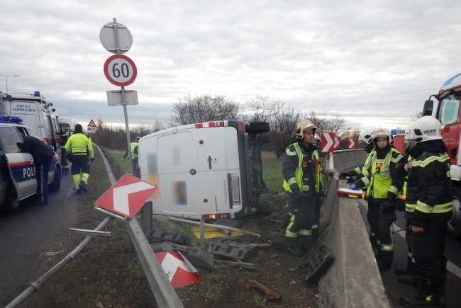 An der Unfallstelle auf der A23