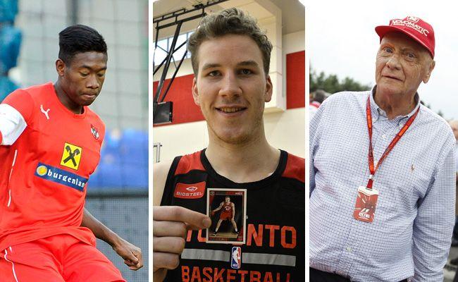 David Alaba, Jakob Pöltl und Niki Lauda - drei international erfolgreiche Sportler aus Wien.