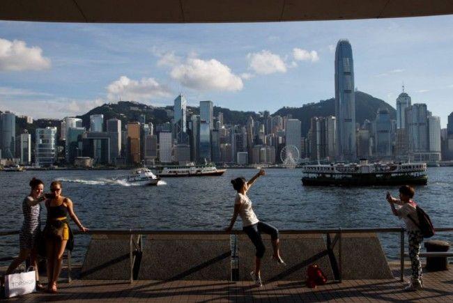 Die Skyline von Hongkong.