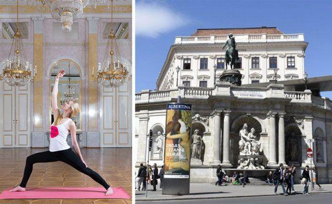 Sabine Harbich unterrichtet Yoga in der Albertina