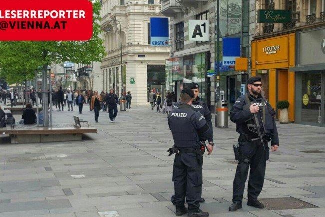 Verstärkte Polizeipräsenz in der Wiener Innenstadt.