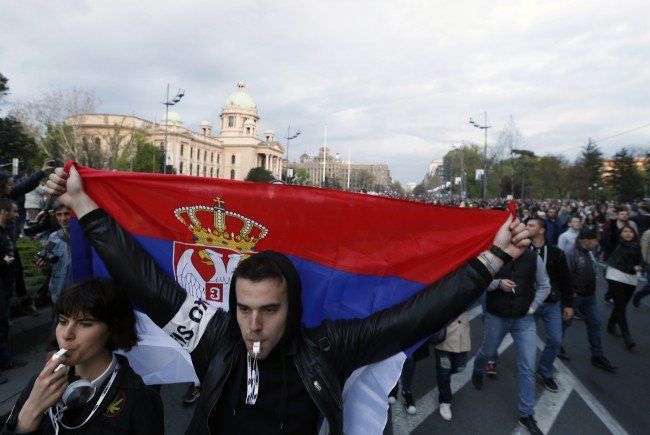 Foto von Protesten in Belgrad letzte Woche.