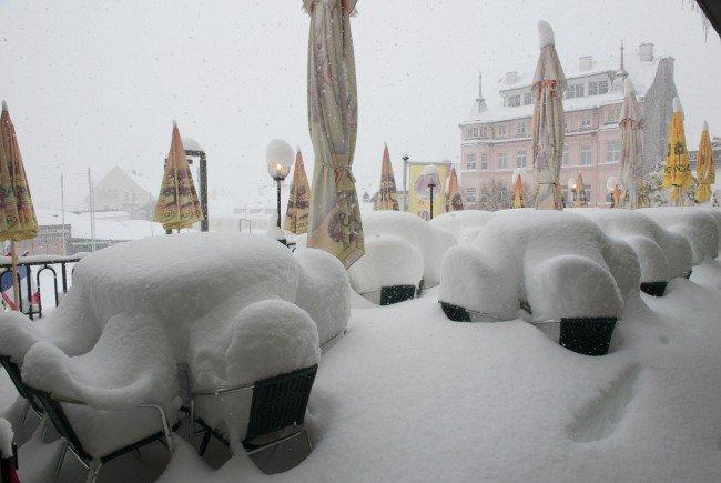 Die Schneemengen am Mittwoch in Mariazell.