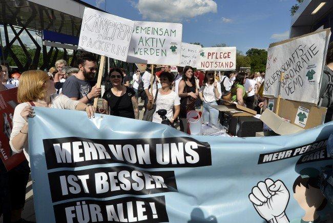 Bei der Pflege-Demo in Wien