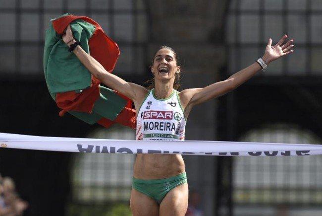 Sara Moreira ging als erste Läuferin durchs Ziel.