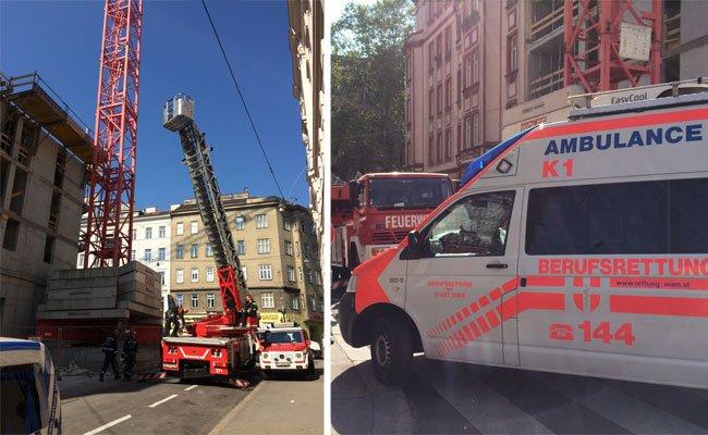 Einsatz nach dem Unfall auf der Baustelle