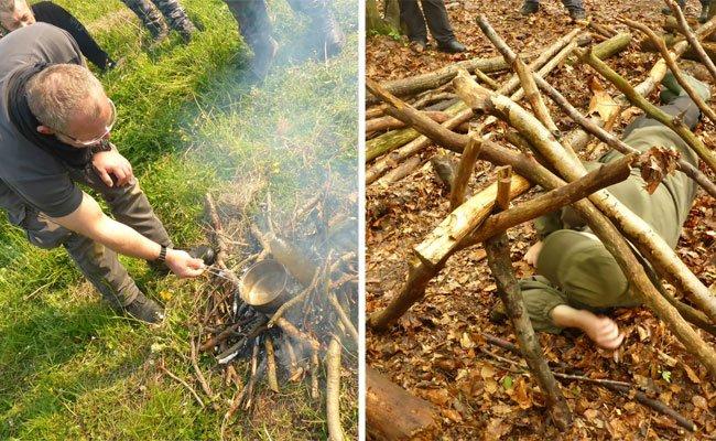 Wie ein Feuer entfacht und ein Shelter gebaut wird, lernten wir beim Survival Day mit Reini Rossmann
