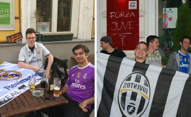 """Oskar und Adrian bei unserem Gesprächstermin in isaac's pub und die """"Bianconeri Vienna"""" vor ihrem Stammlokal, der nachBar."""