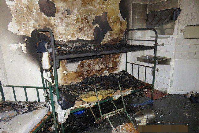 Die Zelle in der JA Josefstadt nach dem Brand