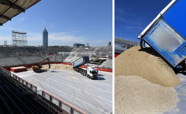 Auf der Donauinsel laufen die Vorbereitungsarbeiten für die Beach-Volleyball-WM auf Hochtouren.