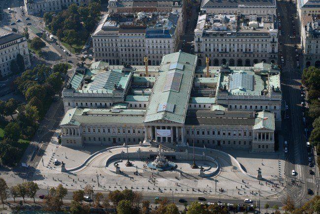 Das Parlament in Wien wird umgebaut.